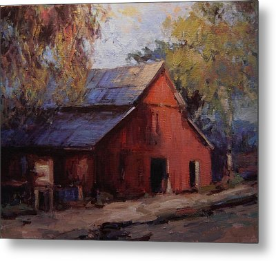 Old Red Barn In The Shadows Metal Print