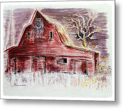 Old Red Barn Stands Loyal To The Royals Metal Print by Barbara Chase