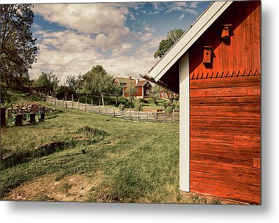 Old Red Farm Set In A Rural Nature Landscape Metal Print by Christian Lagereek