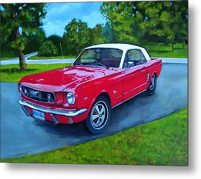Old Red Mustang Car Metal Print by Joyce Geleynse