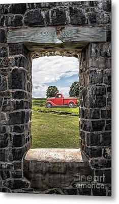 Old Red Pickup Truck Metal Print by Edward Fielding