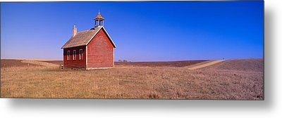 Old Red Schoolhouse On Prairie, Battle Metal Print