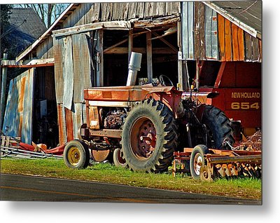 Old Red Tractor And The Barn Metal Print by Michael Thomas