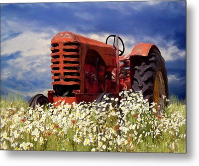 Old Red Tractor Metal Print