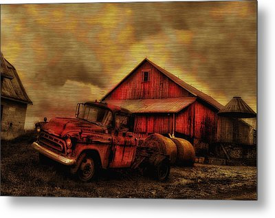 Old Red Truck And Barn Metal Print by Bill Cannon