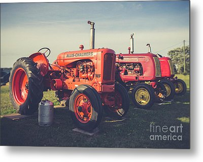 Old Red Vintage Tractors Prince Edward Island  Metal Print by Edward Fielding