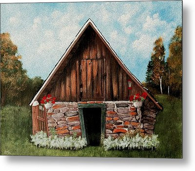 Metal Print featuring the painting Old Root House by Anastasiya Malakhova