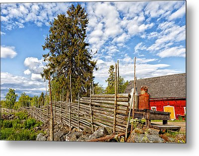 Old Rural Farm Set In A Beautiful Summer Nature Metal Print by Christian Lagereek