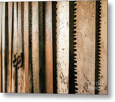 Retired Rusted Saws Metal Print by Lexa Harpell