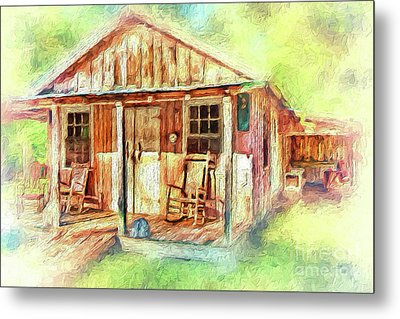 Metal Print featuring the painting Old Rustic House In The Mountains Ap by Dan Carmichael
