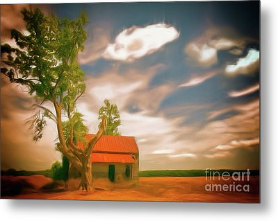 Old Rustic Vintage Farm House And Tree Ap Metal Print