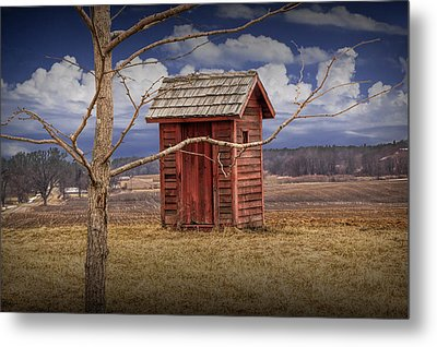 Old Rustic Wooden Outhouse In West Michigan Metal Print