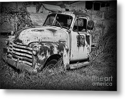 Metal Print featuring the photograph Old Rusty Chevy In Black And White by Paul Ward