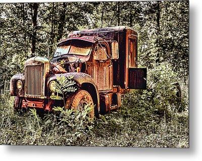 Old Rusty Truck In The Woods - Jocassee Metal Print by Dan Carmichael