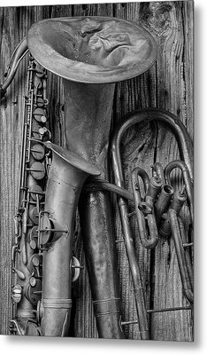 Old Sax And Tuba Metal Print by Garry Gay