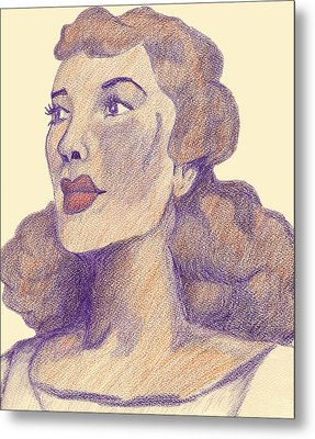 Metal Print featuring the drawing Old School Hollywood by Jean Haynes