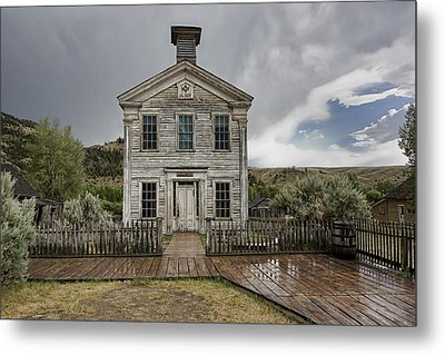 Old School House After Storm - Bannack Montana Metal Print