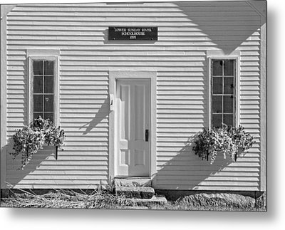 Old Schoolhouse Sunday River Maine Black And White Metal Print by Keith Webber Jr