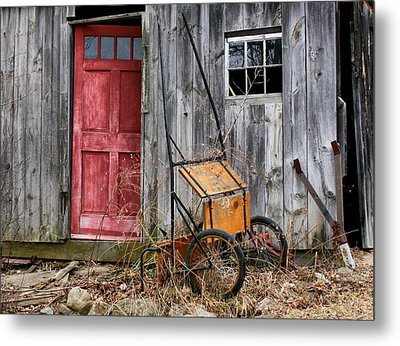 Old Shed Red Door And Pony Cart Metal Print