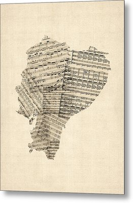 Old Sheet Music Map Of Ecuador Map Metal Print by Michael Tompsett