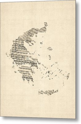 Old Sheet Music Map Of Greece Map Metal Print by Michael Tompsett