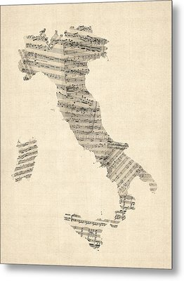 Old Sheet Music Map Of Italy Map Metal Print