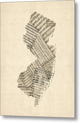 Old Sheet Music Map Of New Jersey Metal Print by Michael Tompsett
