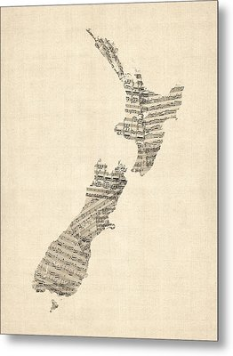 Old Sheet Music Map Of New Zealand Map Metal Print by Michael Tompsett
