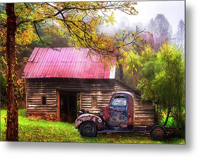 Metal Print featuring the photograph Old Smoky Truck And Barn by Debra and Dave Vanderlaan