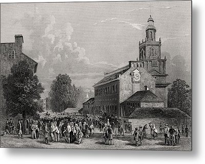 Old State House Philadelphia Usa Metal Print by Vintage Design Pics