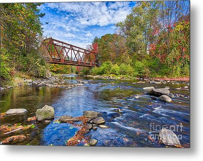 Metal Print featuring the photograph Old Steel Truss Train Bridge Newport New Hampshire by Edward Fielding