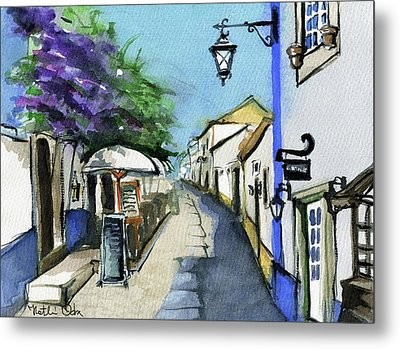 Metal Print featuring the painting Old Street In Obidos, Portugal by Dora Hathazi Mendes