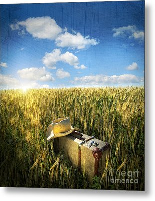 Old Suitcase With Straw Hat In Field Metal Print by Sandra Cunningham