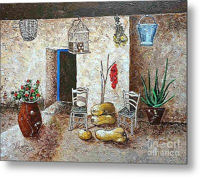 Old Tavern In Chios Greece Metal Print by Viktoriya Sirris