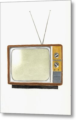 Old Television Set Metal Print by Michael Vigliotti