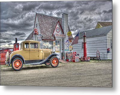 Old Time Gas Station Metal Print