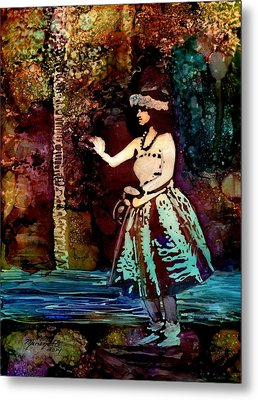 Metal Print featuring the painting Old Time Hula Dancer by Marionette Taboniar