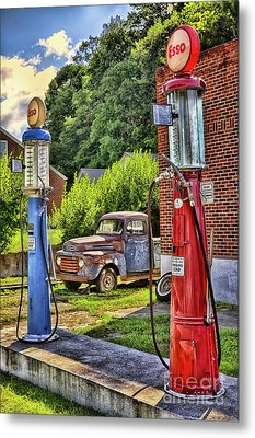 Metal Print featuring the photograph Old Time Vintage Gas Pumps by Dan Carmichael