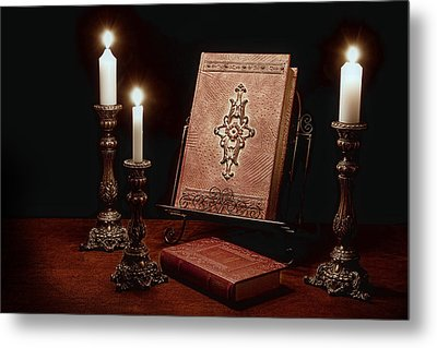 Old Tome Still Life IIi Metal Print
