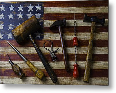 Old Tools On Wooden Flag Metal Print by Garry Gay