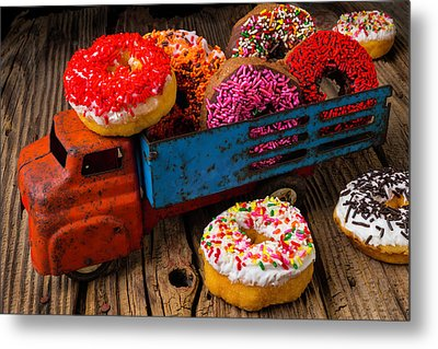 Old Toy Truck And Donuts Metal Print by Garry Gay