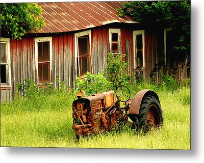 Old Tractor Metal Print by Iris Greenwell