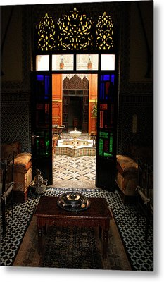 Old Traditional Riad In Fez Metal Print by Ralph A  Ledergerber-Photography