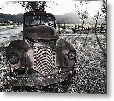 Old Truck In Napa Valley Metal Print by George Oze