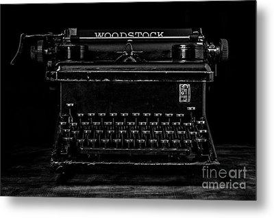 Old Typewriter Black And White Low Key Fine Art Photography Metal Print