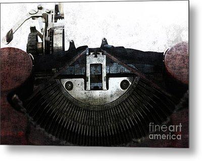 Old Typewriter Machine In Grunge Style Metal Print by Michal Boubin