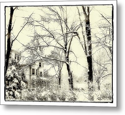 Old Victorian In Winter Metal Print by Julie Palencia