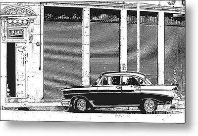 Old Vintage Car In Havana Metal Print