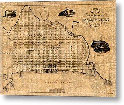 Old Vintage Map Of Jacksonville Florida Circa 1859 On Worn Distressed Parchment Metal Print