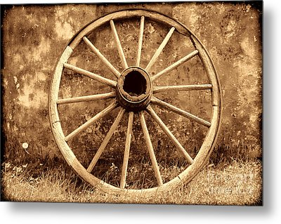 Old Wagon Wheel Metal Print by American West Legend By Olivier Le Queinec